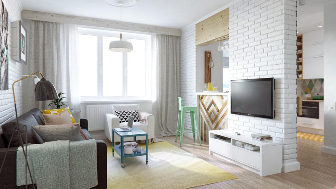 Кусок стены с телевизором в однушке