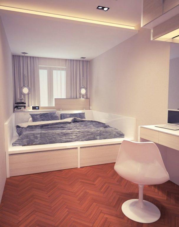 Кровать приставленная к стене в спальне