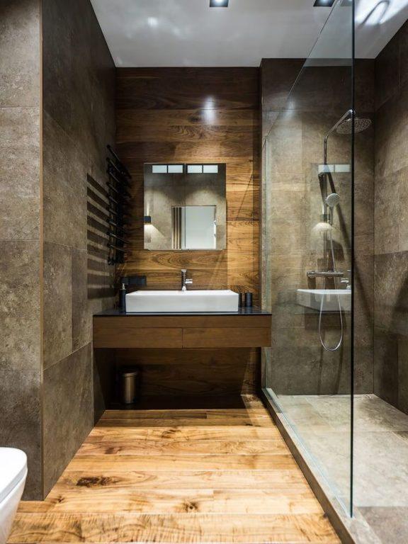 Плитка под дерево и камень в стиле #лофт #дизайн #ванная