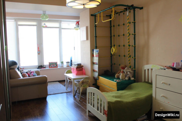 Горизонтальное зонирование в детской комнате