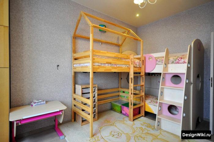 Деревянная кровать-чердак с игровой зоной под ней