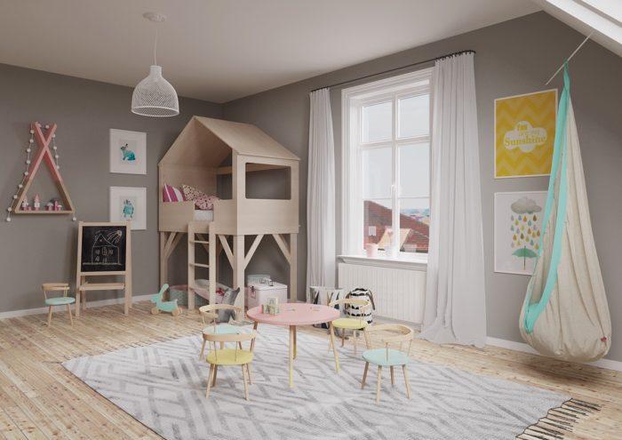 Детская комната с серыми стенами в пастельных тонах