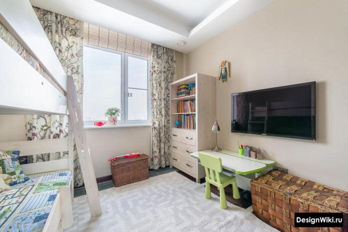 Планировка детской комнаты с кроватью-чердаком