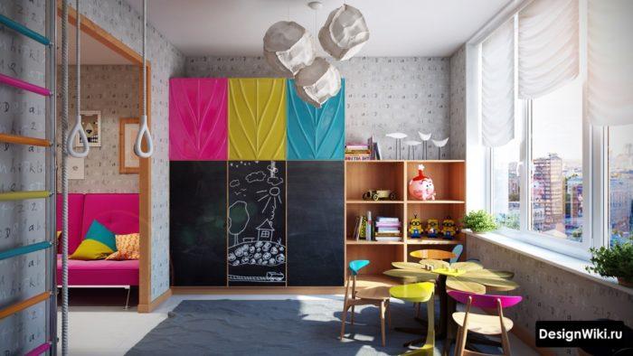 Стильный цветной дизайн детской комнаты