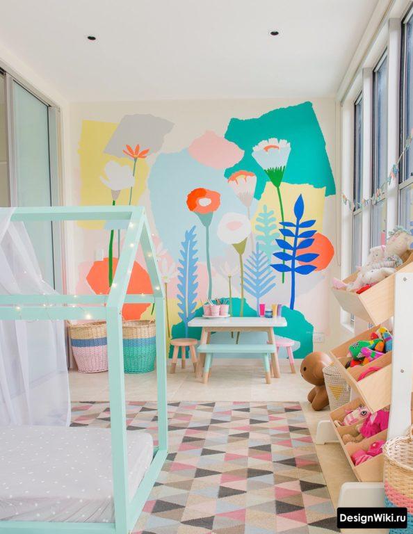 Яркий дизайн детской комнаты в пастельный тонах #детскаякомната #интерьерквартиры