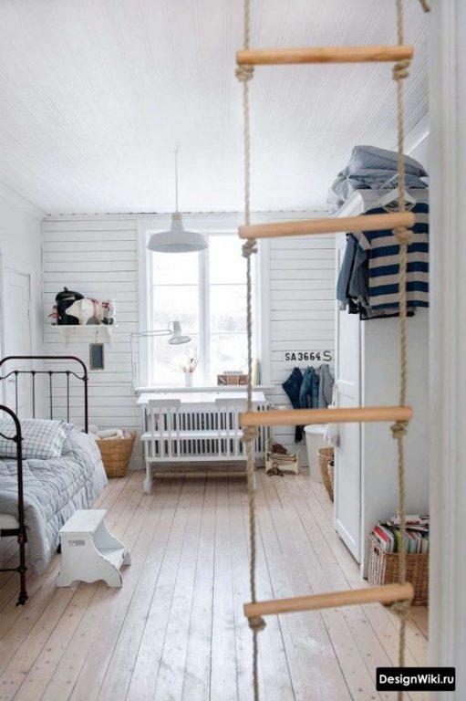 Веревочная лестница в детской комнате мальчика