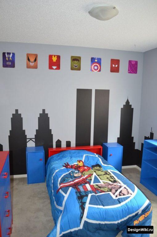 Детская комната в стиле комиксов марвел