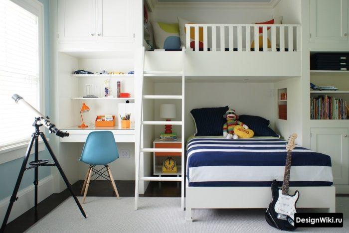 Комната мальчика с кроватью чердаком