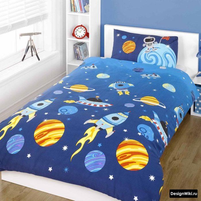 Космическое постельное белье в детской