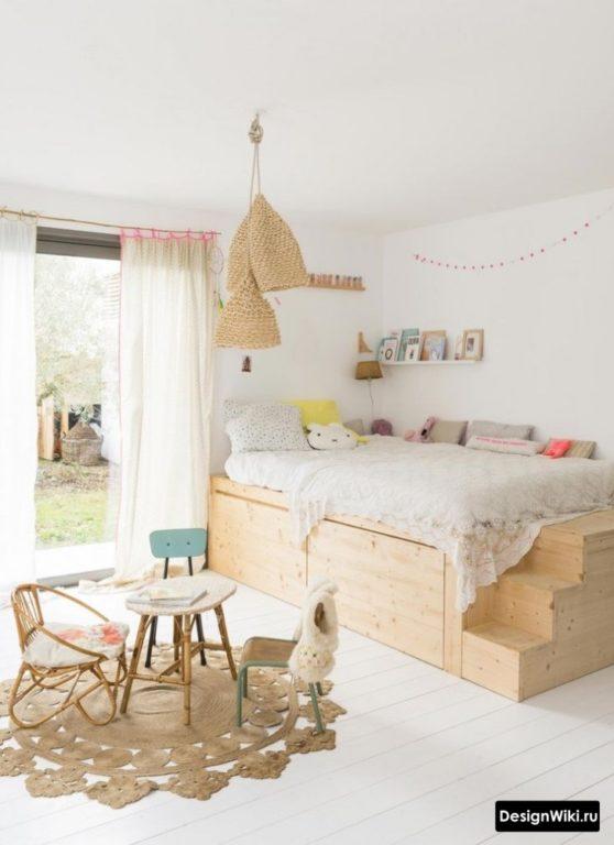 Кровать для детской мальчика с ящиками для вещей