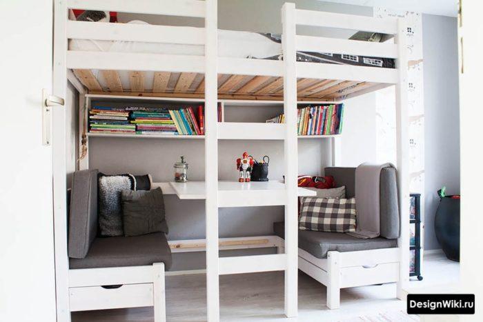 Кровать чердак в детской комнате мальчика