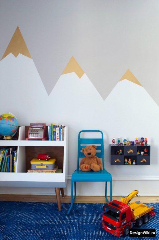 Обои горы в интерьере детской для мальчика
