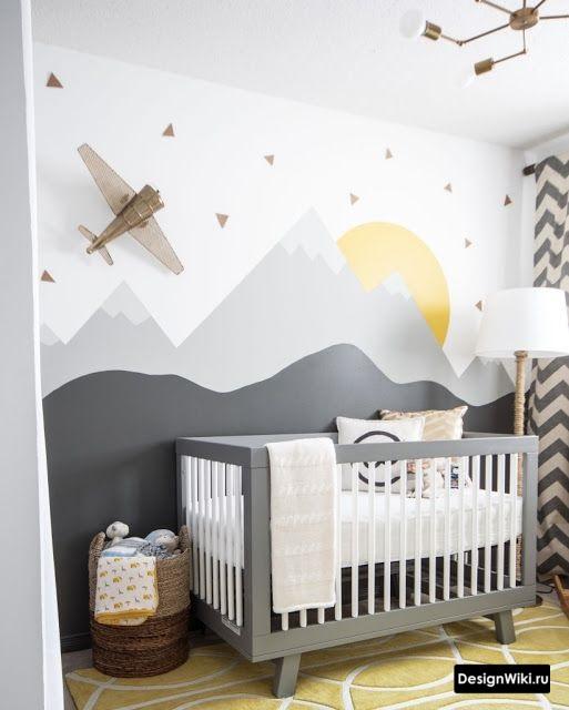 Обои с горами в интерьере комнаты мальчика