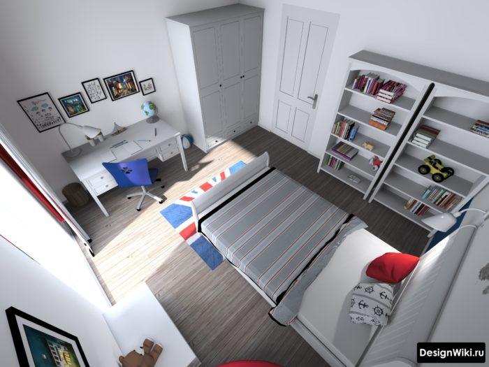 Планировка и расстановка мебели в детской комнате мальчика