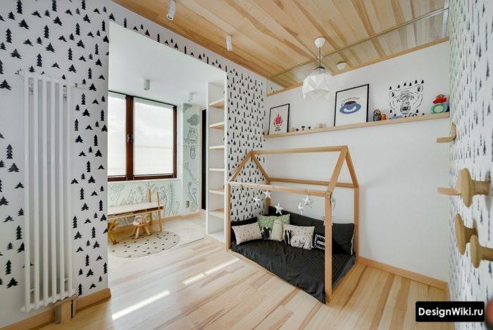 Черно-белые обои в детской комнате для мальчика