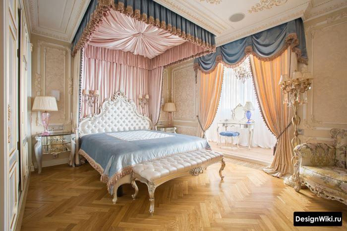 Шикарная спальня в стиле барокко