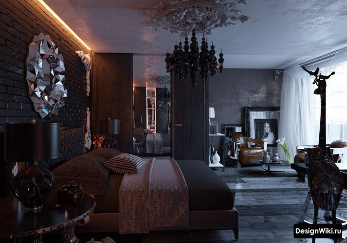 Шикарный черный готический стиль в интерьере