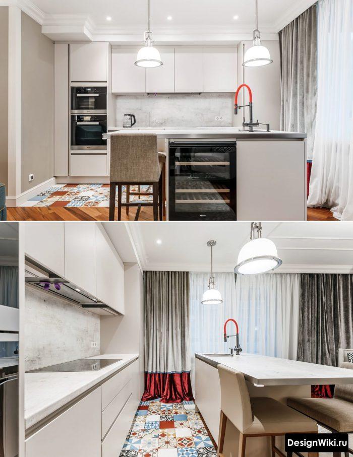 пример современного дизайна кухни-гостиной
