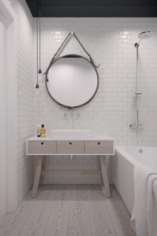 Белый кирпич в ванной