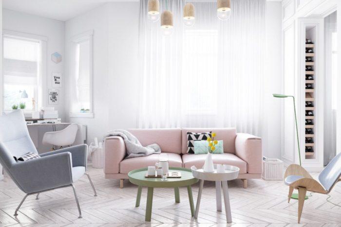Грязно-розовый диван в интерьере