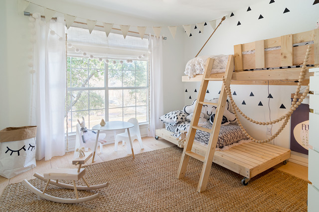Двухъярусная кровать в детской в скандинавском стиле
