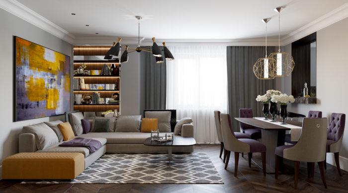 Дизайн гостиной в стиле арт-деко