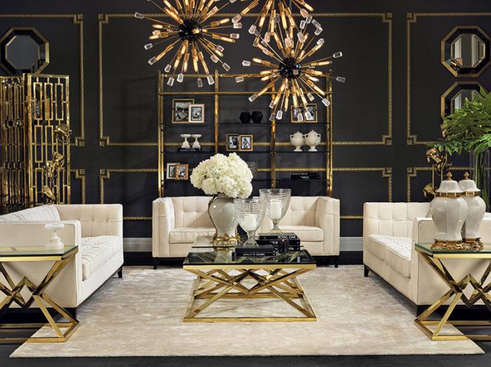 Дизайн квартиры в чёрном и золотом цвете
