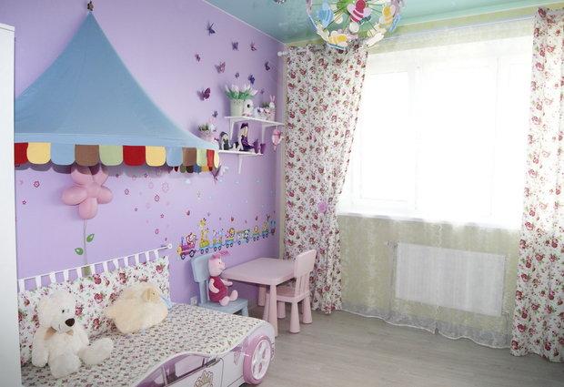 Пастельный лиловый цвет в интерьере детской