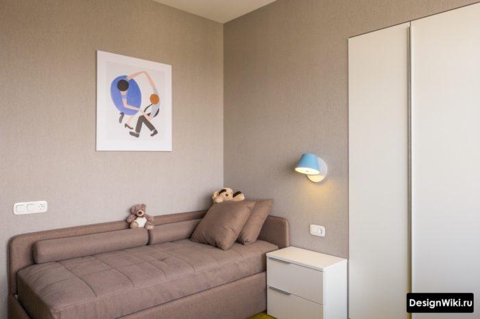 Подростковая комната в серых и белых тонах
