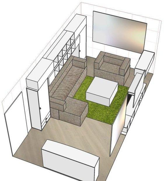 Проект прямоугольной комнаты в однокомнатной квартире