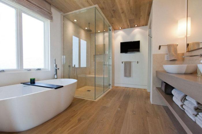 Совмещённая ванная в скандинавском хай-тек лофте