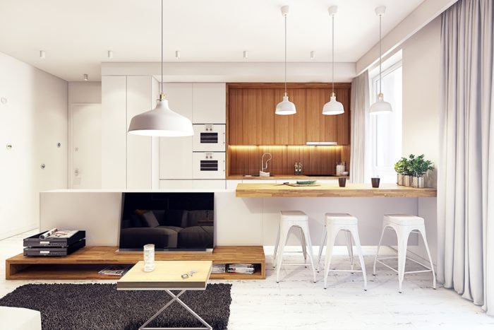 Современная бело-деревянная кухня