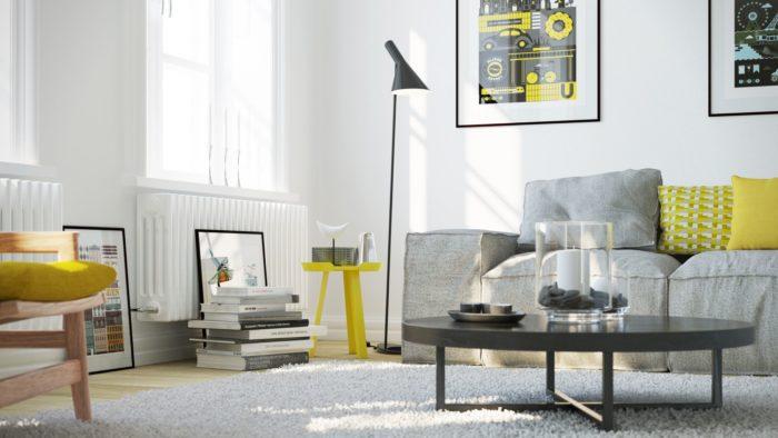 Сочетание серого и жёлтого в скандинавском интерьере