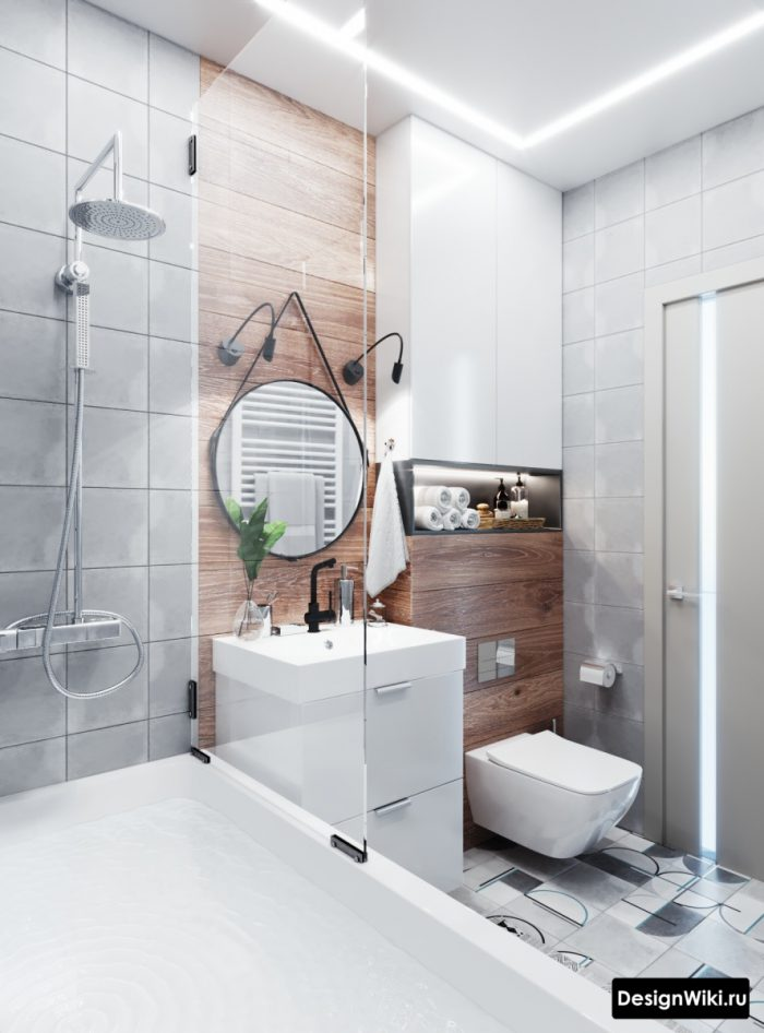 ванная с туалетом в скандинавском стиле