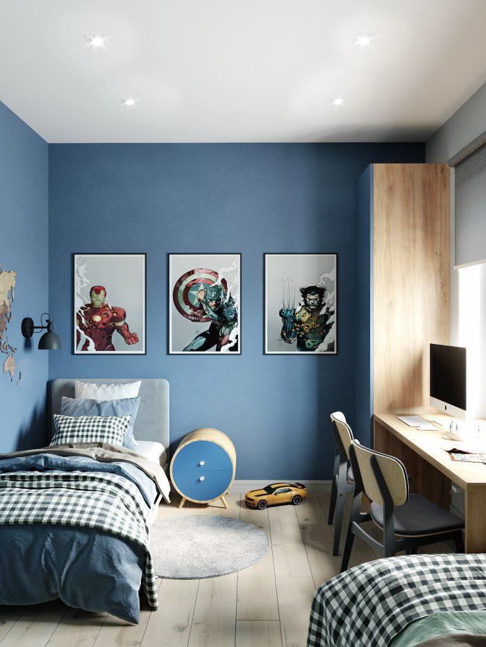 детская комната в скандинавском стиле с синим акцентом