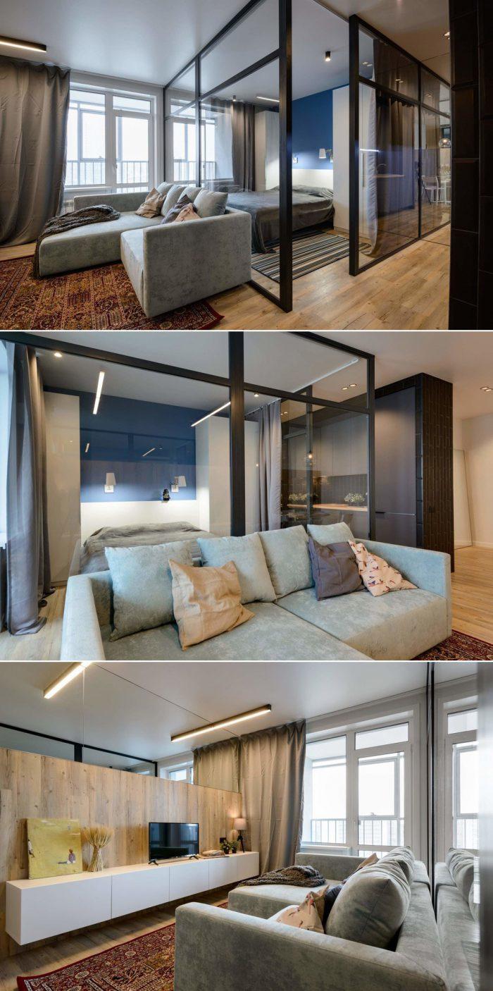 квартира студия с диваном и кроватью в скандинавском стиле