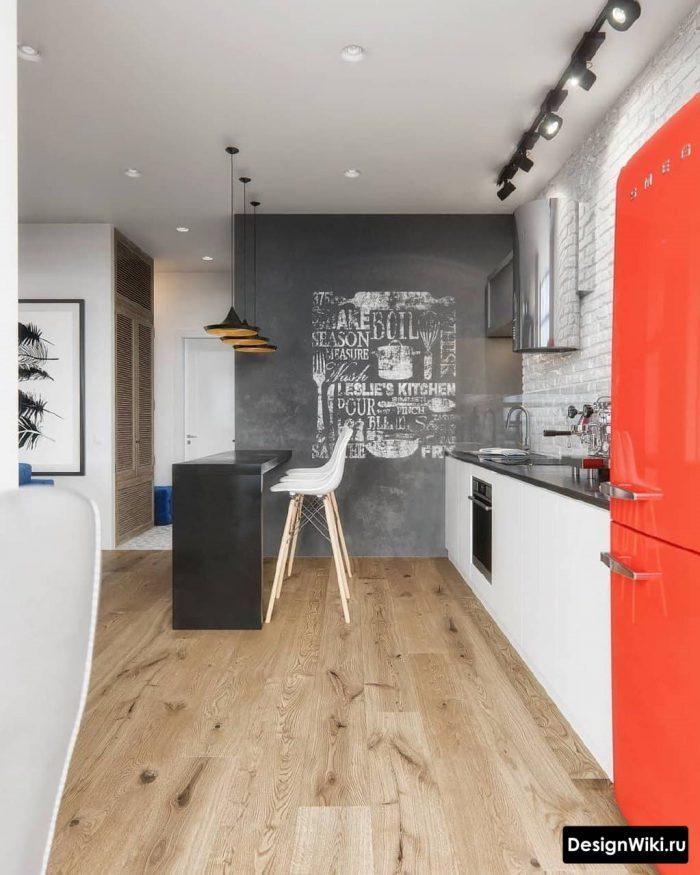 красный холодильник на кухне в скандинавском стиле