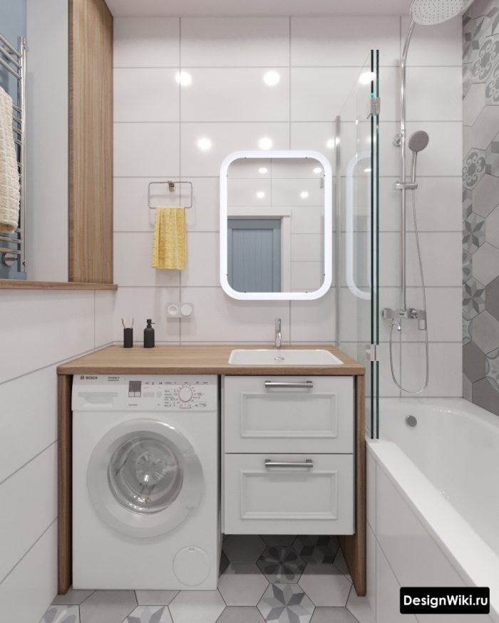 маленькая ванная со стиральной машиной в скандинавском стиле