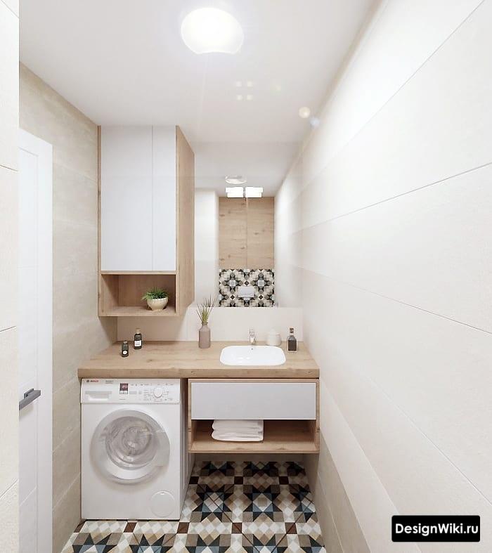 маленькая скандинавская ванная со стиральной машиной