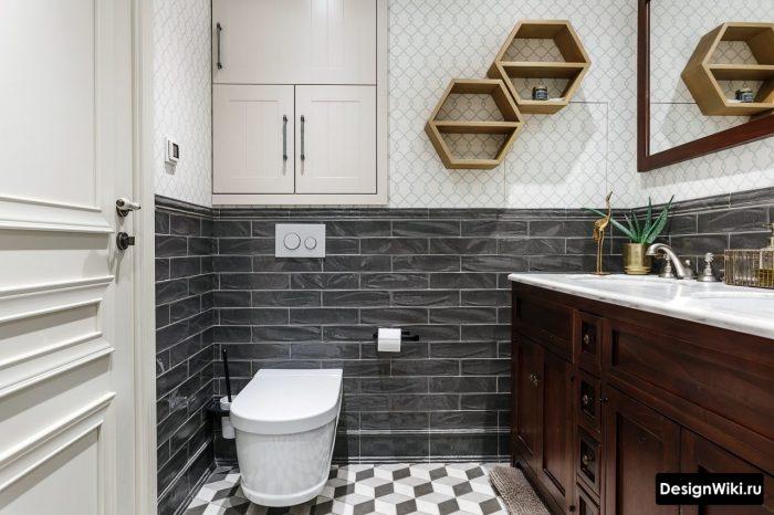 плитка с узором в интерьере ванной в скандинавском стиле