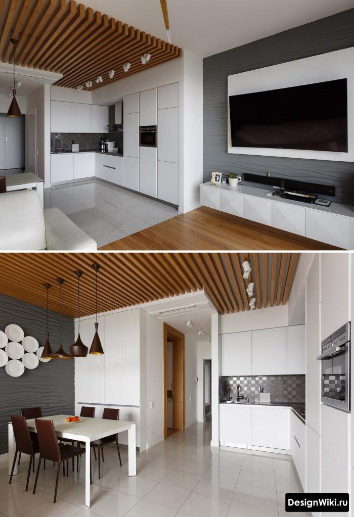 рейки на потолке в белой с деревом кухне