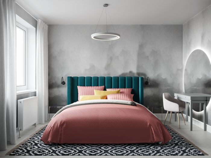 скандинавская спальня в серых тонах