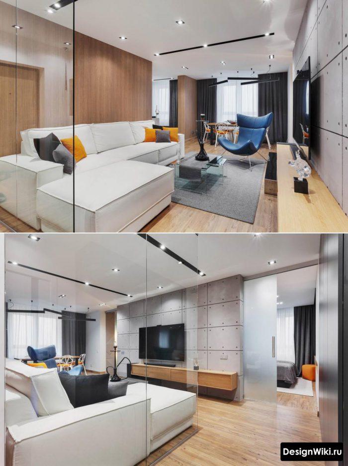 сочетание лофта и скандинавского стиля в гостиной