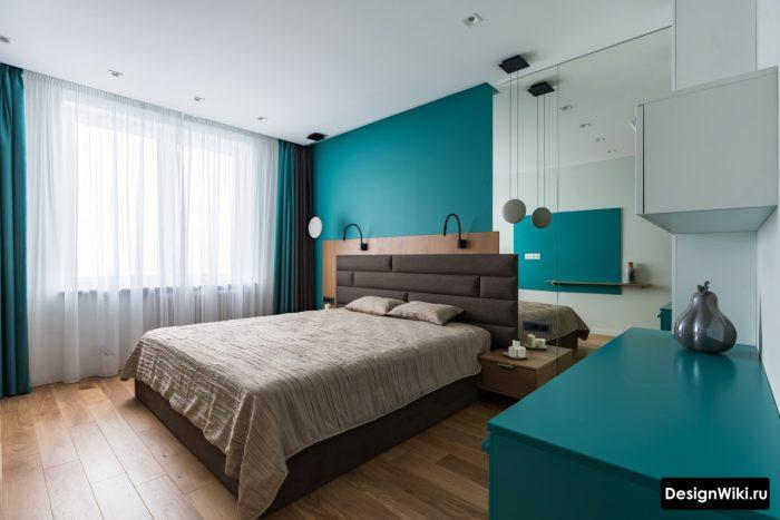 спальня в бело голубых тонах