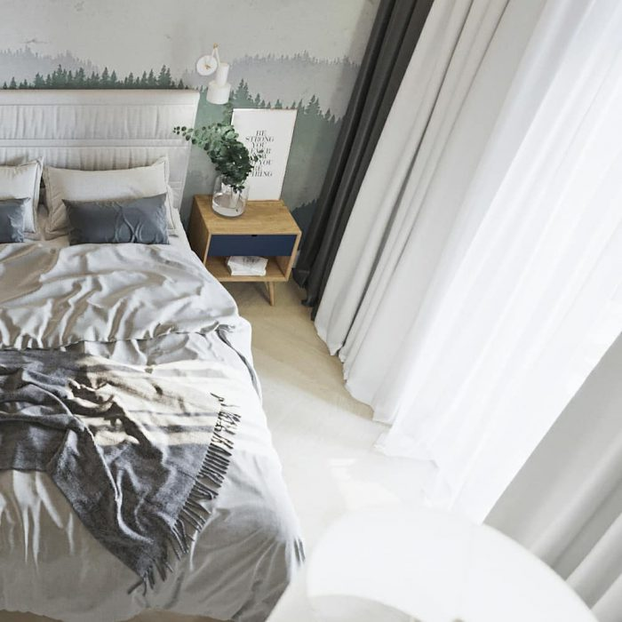 спальня в светлых тонах в скандинавском стиле