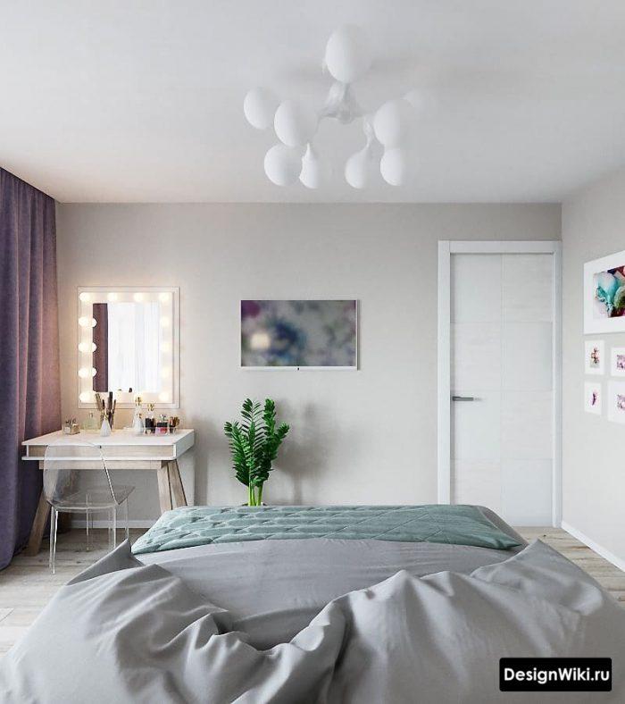 спальня в скандинавском стиле со столиком