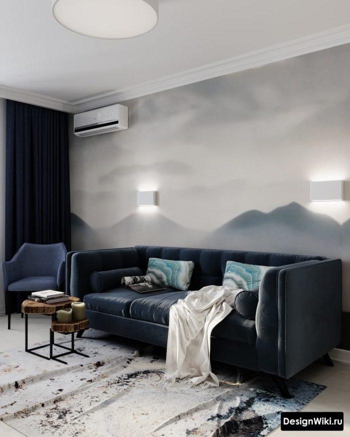 фотообои в интерьере гостиной в скандинавском стиле