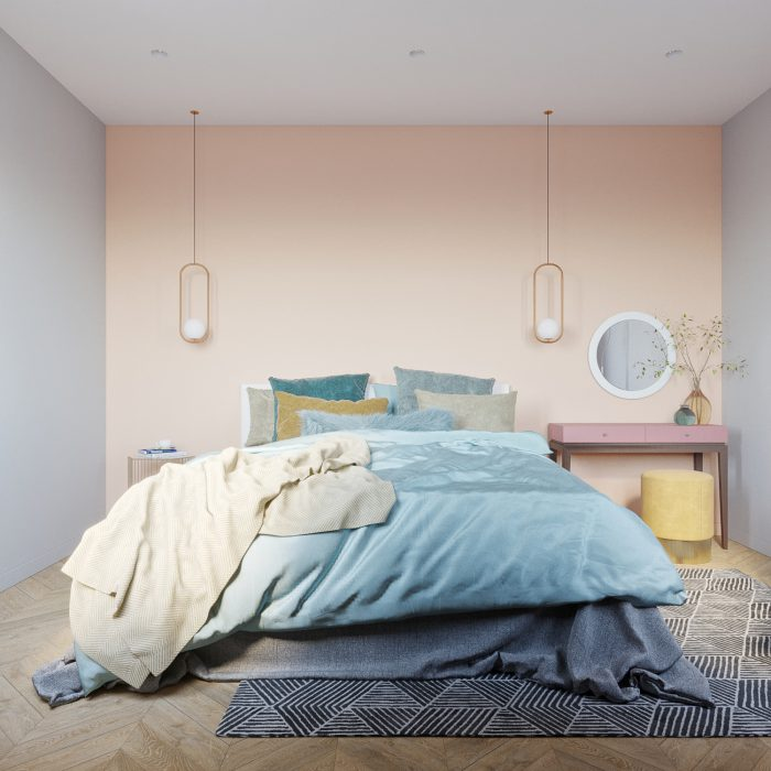 яркая спальня в скандинавском стиле