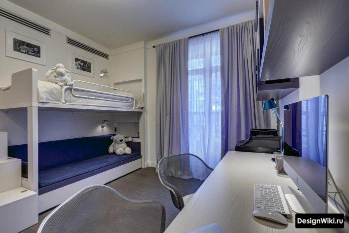 комната для подростка в серых и бежевых тонах