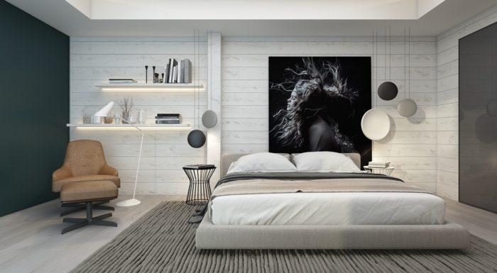 Белое дерево спальня в стиле минимализм